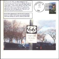 Purchase a postmarked commemorative cover of the day in 2002 when the US 66 shield briefly returned to Chicago's Grant Park