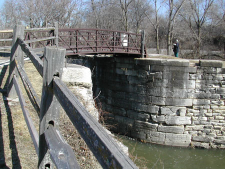 Stonework and footbridge over the I & M Canal at Lockport