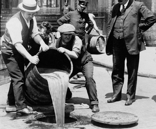Disposing of confiscated booze during Prohibition