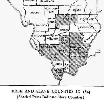 1824 Map of Illinois counties with legal slavery